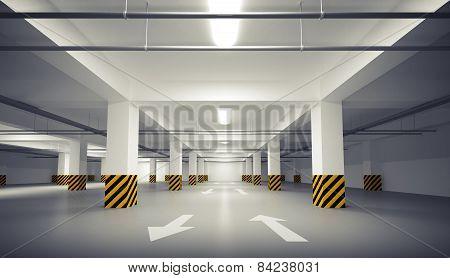Abstract Empty White Underground Parking Interior