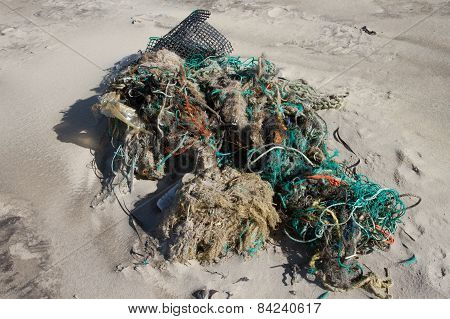 Lot of rubbish washed up on the shore
