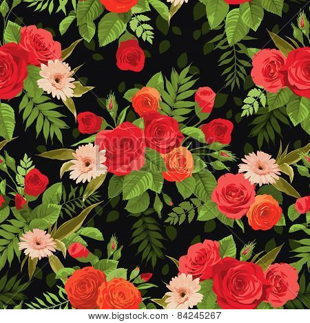Seamless Floral Pattern With Orange And Red Roses On Dark Background