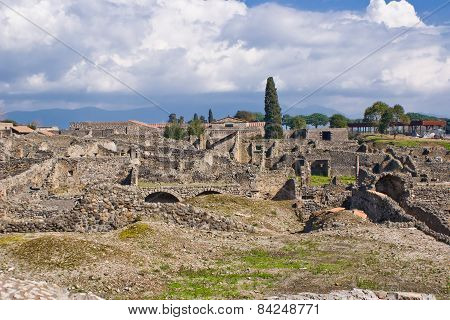 View of archeological excavations of Pompeii Italy poster