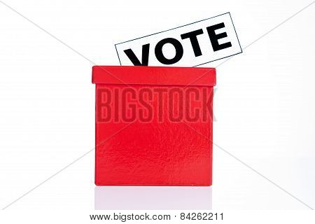 vote sign and red ballot box isolated on white background poster