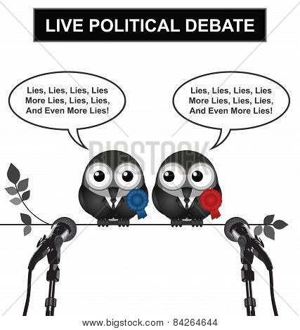 poster of Monochrome comical live political debate with politicians spouting lies and more lies isolated on white background