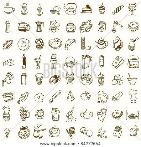 Morning breakfast lunch or dinner kitchen doodle hand drawn sketch rough simple icons coffee, tea, d