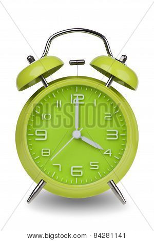 Green alarm clock with the hands at 4 am or pm isolated on a white background. One of a set of 12 images showing the top of the hour starting with 1 am / pm and going through all 12 hours poster