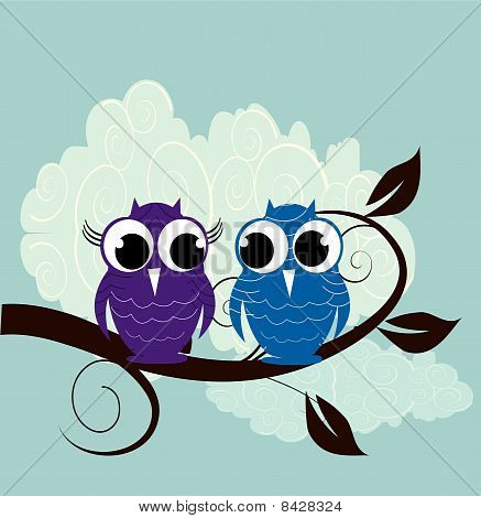 illustration of two cute owl