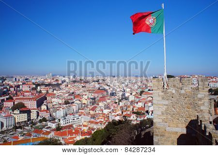 Lisbon spring skyline with Portugal flag