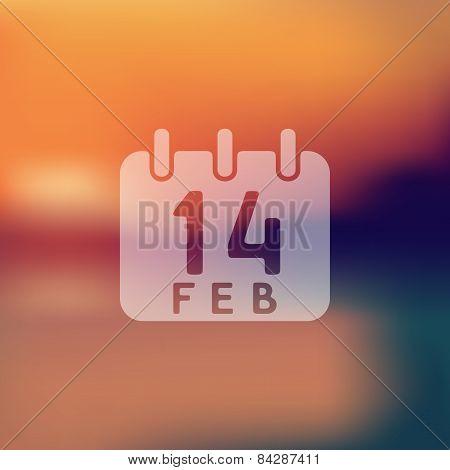 Valentine icon on blurred background