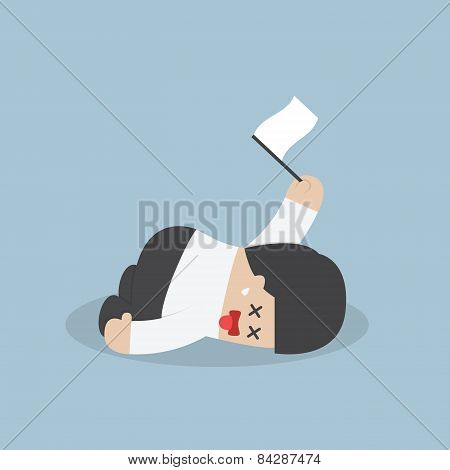 Exhausted Businessman Lying Down On The Floor And Surrender