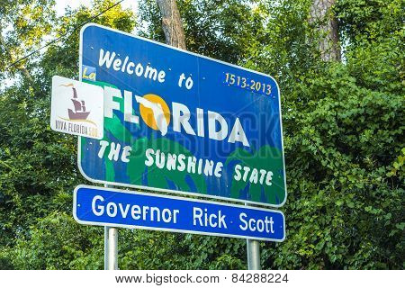 Welcome Sign To The State Of Florida