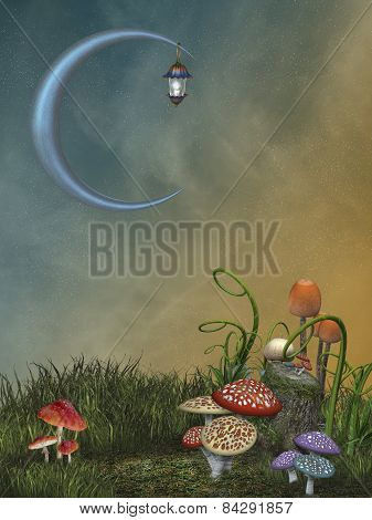 Fantasy landscape in the garden with big moon poster