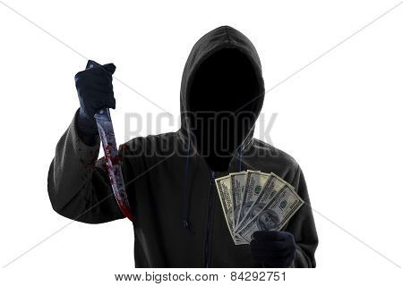 Mugger Showing Bloody Knife And Money