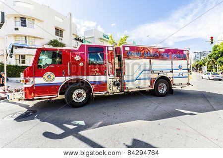 Fire Brigade On Duty In South Beach In Miami