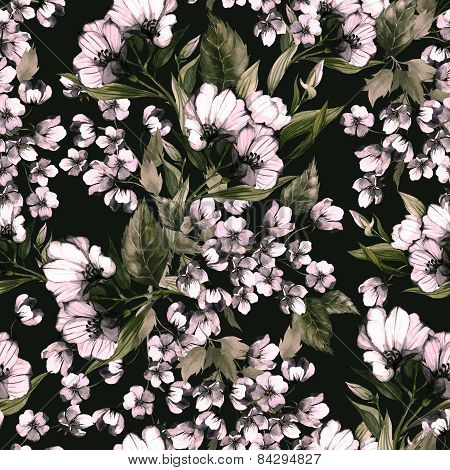 Seamless Floral Pattern With Eustoma On Dark Background