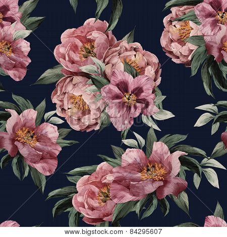Seamless Floral Pattern With Red, Purple And Pink Roses On Dark Background