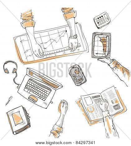 Teamwork, top view people hands sketch hand drawn doodle office workplace with business objects and items lying on a desk laptop, digital tablet, mobile phone. poster