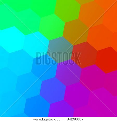 Hexagonal color spectrum. Colorful abstract background. Simple geometric art. Creative pattern.