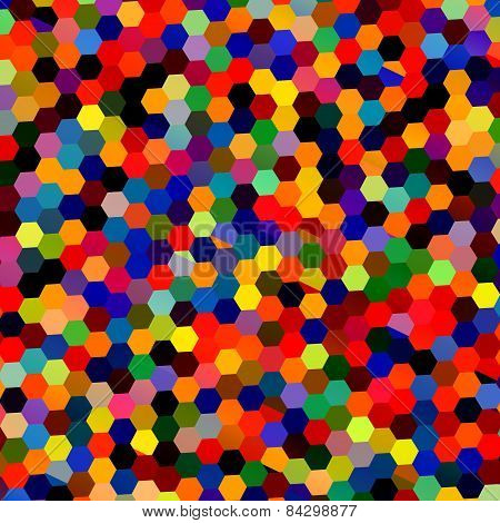 Abstract colorful mosaic hexagons. Geometric background. Repeating tiles pattern. Lots of shapes.