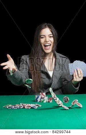 Atractive Women Playing Blackjack At Casino