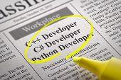 C Developer, Python Developer Jobs in Newspaper. Job Search Concept. poster