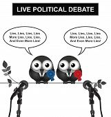 Monochrome comical live political debate with politicians spouting lies and more lies isolated on white background poster