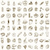 Morning breakfast lunch or dinner kitchen doodle hand drawn sketch rough simple icons coffee, tea, donut, teapot, cupcake, jam and other sweets. poster