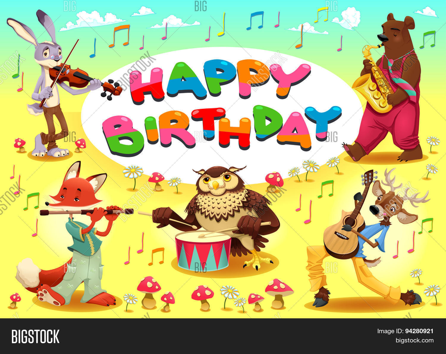 Happy birthday card musician vector photo bigstock happy birthday card with musician animals cartoon vector illustration with frame in a4 proportions bookmarktalkfo Image collections