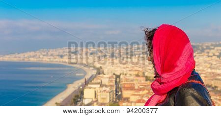 Veiled Young Woman Overlooking Nice In France