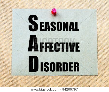 Sad As Seasonal Affective Disorder Written On Paper Note