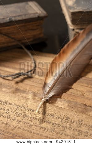 Ancient Treatise With Bird Feather