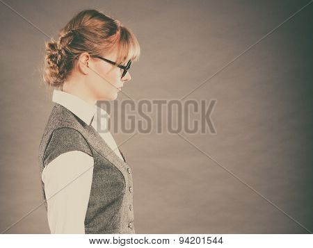 Profile Of Elegant Young Businesswoman Secretary.