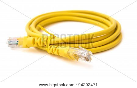 Side View Yellow Rj45 Computer Network Connecting Cable On White With Clipping Path