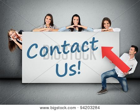 Contact us word writing on white banner