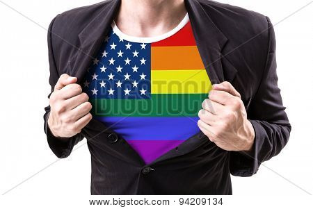 Businessman stretching suit with American LGBT flag on white background