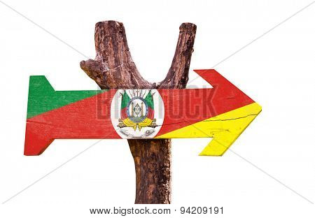 Rio Grande do Sul wooden sign isolated on white