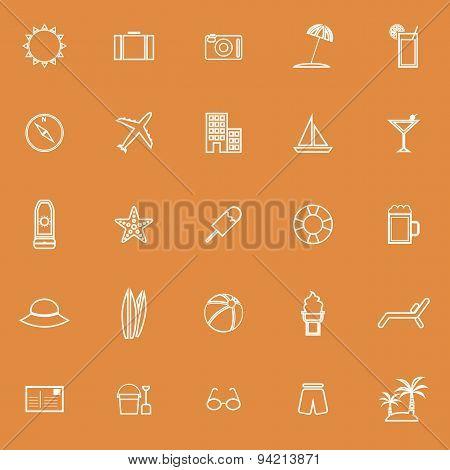 Summer Line Icons On Orange Background