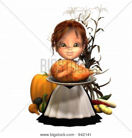 Pilgrim Girl With Turkey