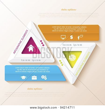 Abstract Infographic Design With Triangles. Vector Illustration Can Be Used For Web Design,  Workflo