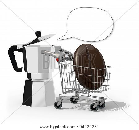 Mocha And Shopping Cart With Big Coffee Bean Inside