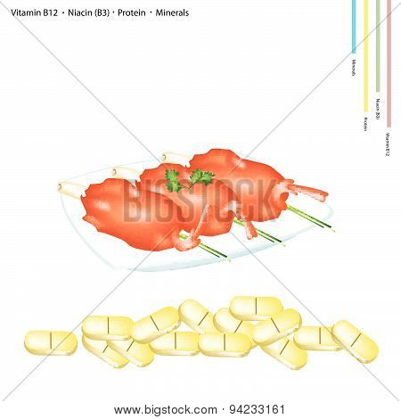 Fried Shrimp With Vitamin B12, B13 And Protein