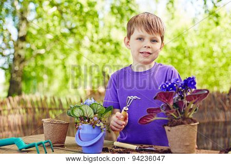 Handsome boy with garden tool replanting African violets