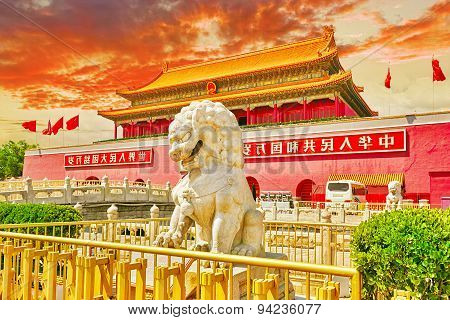 Lions on Tiananmen Square near Gate of Heavenly Peace- the entrance to the Palace Museum in Beijing (Gugun).Tiananmen Square is a third large city square in the centre of Beijing China. poster