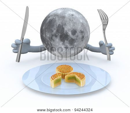 Moon Planet With Hands And Utensils In Front Of An Mooncake Plate