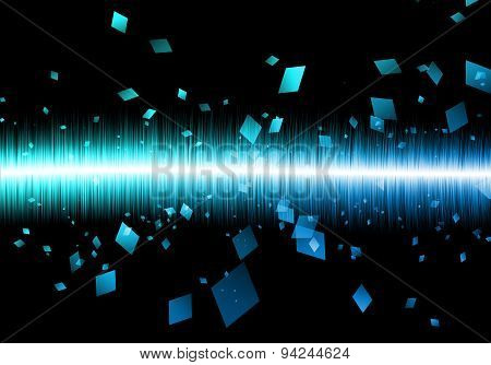 Abstract Blue Sound wave Rectangle Soundwave Isolated Black Galaxy.
