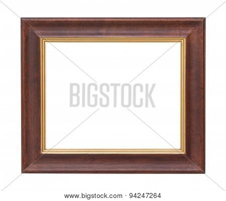 Old Wooden Plate Frame Isolated White Background.