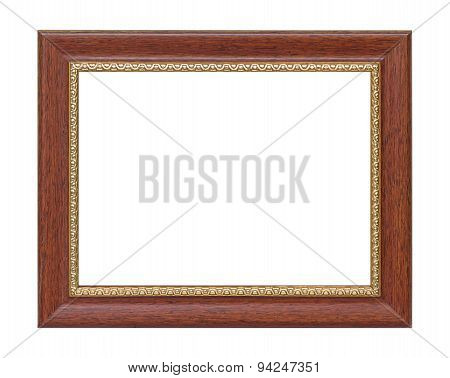 Old Wooden Plate Frame And Rim Gold Isolated White Background.