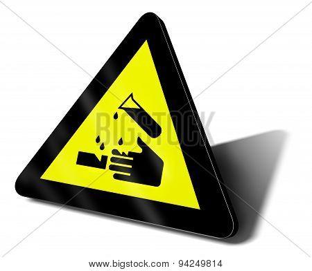 the acid danger traffic sign, 3d illustration poster