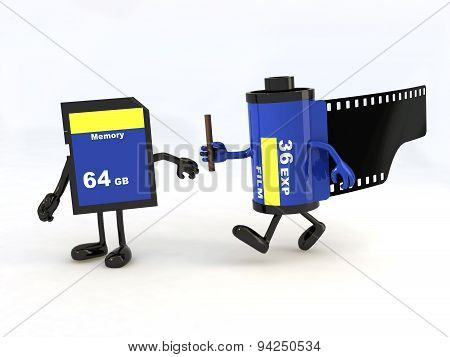 Relay Between Film Photo Roll And Memory Stick
