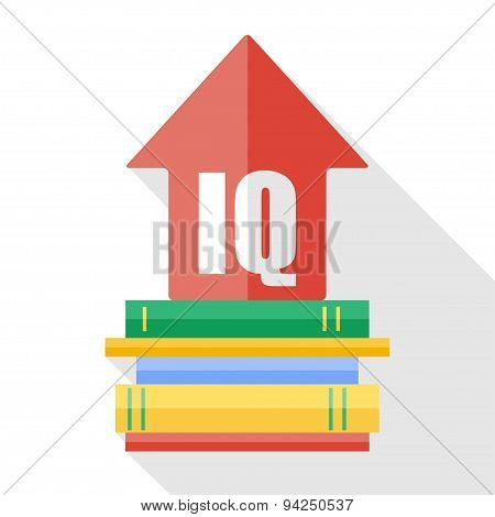Vector flat IQ increase icon. Reading books increases the level of intelligence poster