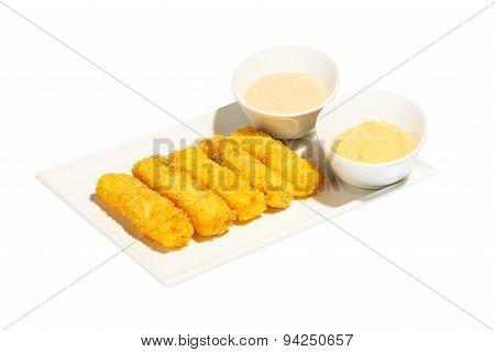 Fish sticks with sauce