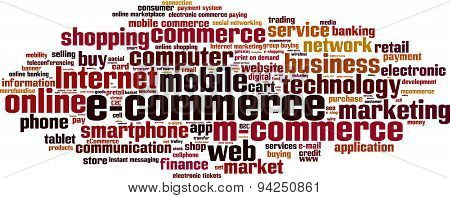 Electronic commerce word cloud concept. Vector illustration poster